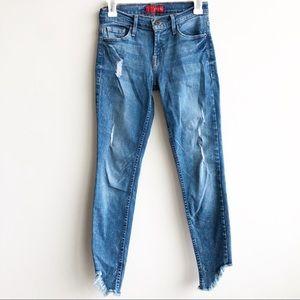 Guess | Distressed Angled Raw Hem Skinny Jeans